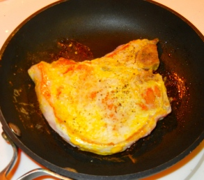 Brown both sides of each pork chop