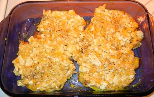 Place pork chops in a large baking dish and top with corn mixture